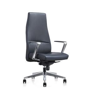 Fauteuil de direction de bureau en cuir véritable Y&F grand et haut avec base et accoudoirs en aluminium (YF-822-099)