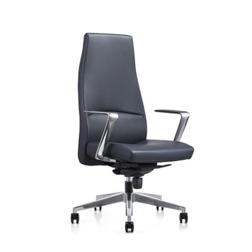 Silla ejecutiva de oficina de cuero genuino grande y alta Y&F con base de aluminio y apoyabrazos (YF-822-099)