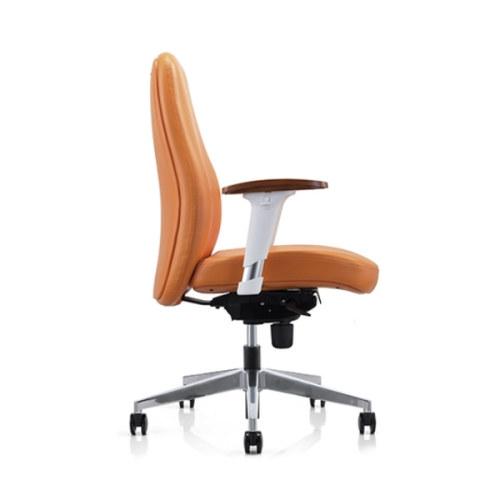 Silla ejecutiva de oficina de cuero PU Y&F con superficie de madera y reposabrazos ajustables en altura (YF-623-021)