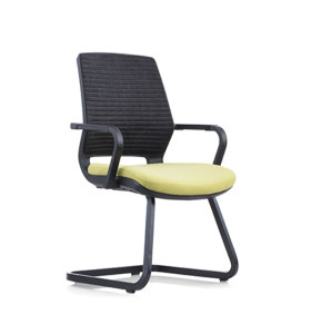 Chaise de bureau Y&F à dossier moyen en maille avec cadre et accoudoirs chromés (YF-16622B-1)