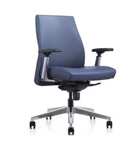 Chaise pivotante de bureau en cuir PU à dossier moyen Y&F avec accoudoir réglable en hauteur en aluminium, base en aluminium (YF-620-01)