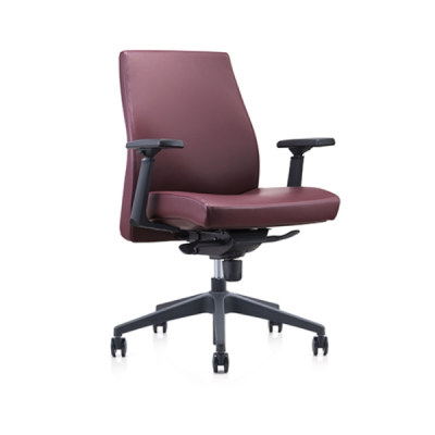 Y&F Mid-back PU/Leather Office Swivel Chair with plastic height adjustable armrest, plastic base(YF-620-02)