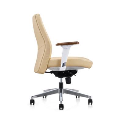 Chaise pivotante Y&F à dossier moyen en PU / cuir avec accoudoir supérieur en bois, base en aluminium (YF-620-022)