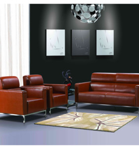 Wholesale Modern PU/Leather Office Sofa, stainless steel Base and Frame (SF-145KD)