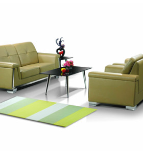 Y&F Wholesale Modern Office Sofas, stainless steel base and frame, PU or leather fabric(SF-835)