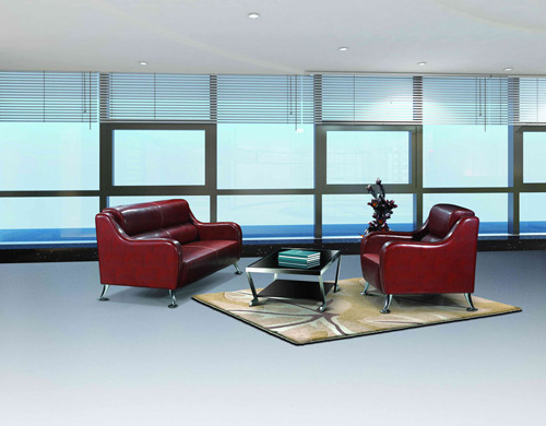 Y&F Modern Office Sofa, stainless steel base and frame, sofa fabric available in PU or leather(SF-836)