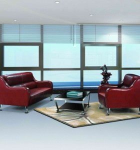 Y&F Wholesale Modern Office Sofas, stainless steel base and frame, PU or leather Fabric(SF-836)