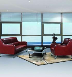 Canapé de bureau moderne Y&F, base et structure en acier inoxydable, tissu PU ou cuir (SF-836)