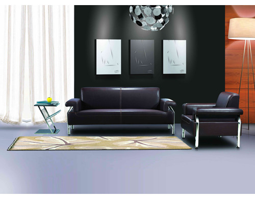 Y&F Modern Leather Office Sofa, stainless steel base and frame, sofa fabric available in PU (SF-837)