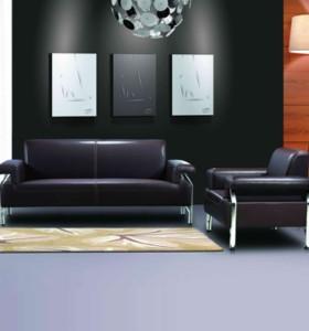 Canapé de bureau en cuir moderne Y&F, base et structure en acier inoxydable, tissu de canapé disponible en PU (SF-837)