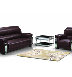 Y&F Modern Office Sofas, stainless steel base and frame, sofa fabric available in PU and leather (SF-838)