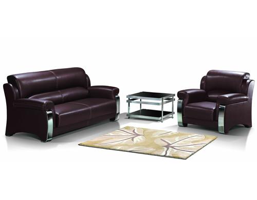 Sofá de oficina moderno Y&F, base y marco de acero inoxidable, tela de sofá disponible en PU y cuero (SF-838)
