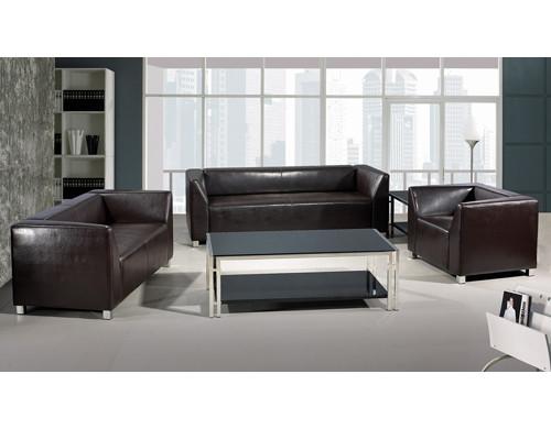 Canapé de bureau moderne Y&F, base et structure en acier inoxydable, tissu PU et cuir (SF-892)