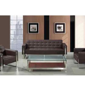 Canapé de bureau Y&F en PU / cuir, design moderne, base et structure en acier inoxydable (SF-897)