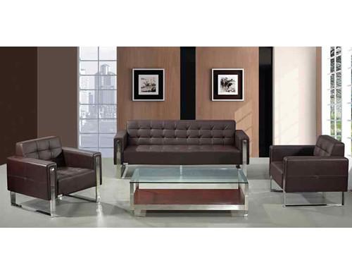 Sofá de oficina de cuero y PU Y&F, diseño moderno, base y marco de acero inoxidable (SF-897)