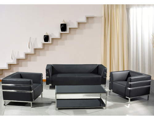 Y&F Modern PU/Leather Office Sofa, stainless steel base and frame (SF-898)