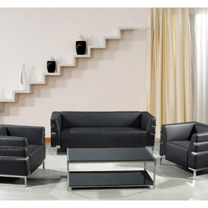 Sofá de oficina moderno de PU y cuero Y&F, base y marco de acero inoxidable (SF-898)