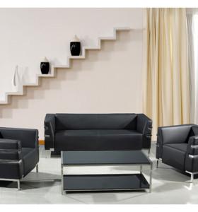 Canapé de bureau moderne en PU / cuir Y&F, base et cadre en acier inoxydable (SF-898)