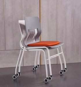 Chaise de formation empilable moderne Y&F avec coussin et roulettes (LY-BM2-B)