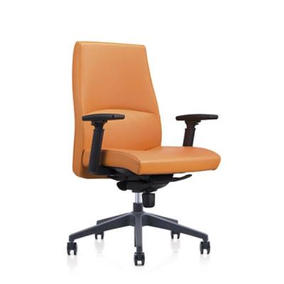 Chaise pivotante de bureau Y&F à dossier moyen en PU avec accoudoir réglable en hauteur en plastique, base en plastique (YF-622-134)
