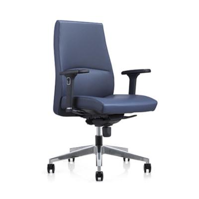 Chaise pivotante de bureau Y&F à dossier moyen en PU avec accoudoir réglable en hauteur en chrome, base en aluminium (YF-622-0891)