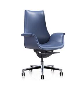 Chaise pivotante de bureau Y&F à dossier moyen en PU avec base en aluminium (YF-625-18)