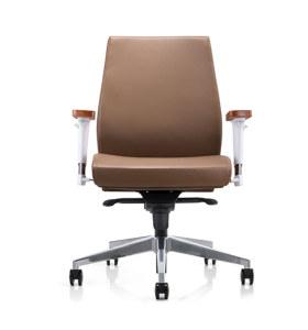 Chaise pivotante de bureau Y&F à dossier moyen en PU / cuir avec accoudoir en aluminium réglable en hauteur et plateau en bois, base en aluminium (YF-628-021)