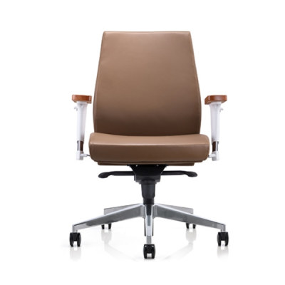Y&F Mid-back PU/leather Office Swivel Chair with Aluminum height adjustable armrest&wood top, Aluminum base (YF-628-021)