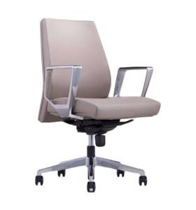 Chaise pivotante de bureau Y&F à dossier moyen en PU / cuir avec accoudoir réglable en hauteur en aluminium et plateau en bois, base en aluminium (YF-628-116)