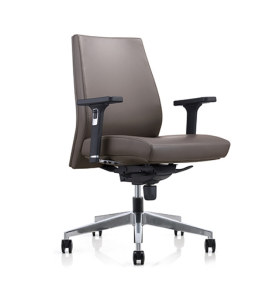Wholesale Grey Mid-back PU Office Swivel Task Chair with Aluminum base (YF-628-0884)