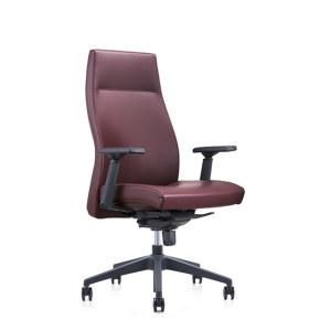 Chaise pivotante de bureau Y&F à dossier haut en PU avec accoudoir réglable en hauteur en plastique, base en plastique (YF-820-02)
