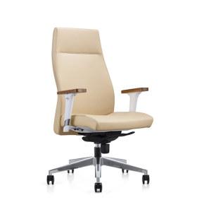 Chaise pivotante Y&F à dossier haut en PU avec accoudoir en bois, base en aluminium (YF-820-021)