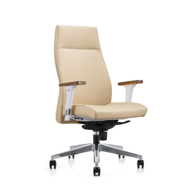 Y&F High-back PU Office Swivel Chair with Wood top armrest, Aluminum base (YF-820-021)