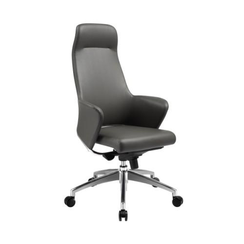 Silla ejecutiva de oficina de PU de respaldo alto Y&F con base de aluminio, respaldo de cuero genio imitado y reposabrazos (YF-9602)