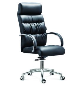 Chaise pivotante Y&F à dossier haut en PU avec accoudoir en aluminium, base chromée (YF-9332)