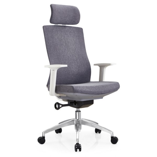 Y&F High Back Fabric Office Executive Chair with alumnium base and white PP armrest(YF-A30).