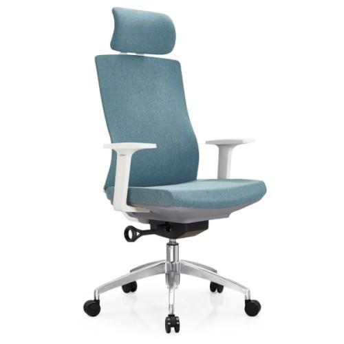 Silla ejecutiva de oficina de tela con respaldo alto Y&F con base de aluminio y apoyabrazos de PP blanco (YF-A30).