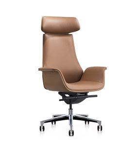 Chaise pivotante Y&F à dossier haut en PU avec base en aluminium (YF-825-18)