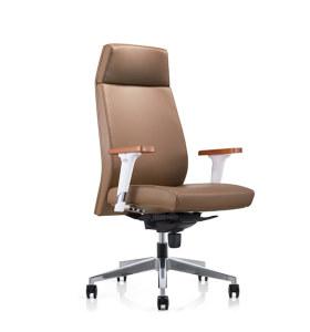Chaise pivotante de bureau en PU à dossier haut Y&F avec accoudoir réglable en hauteur en aluminium et plateau en bois, base en aluminium (YF-828-021)