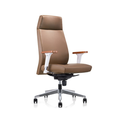 Y&F High-back PU Office Swivel Chair with Aluminum height adjustable armrest & wood top, Aluminum base (YF-828-021)