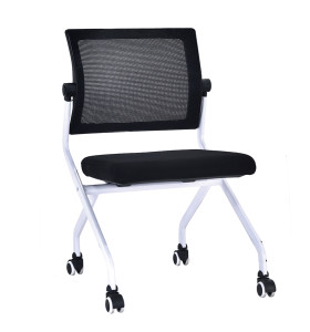 Modern Office Foldable Training Chair, Mesh Seat And Back, Metal With Powder Coating,With Wheel(YF-A-128)