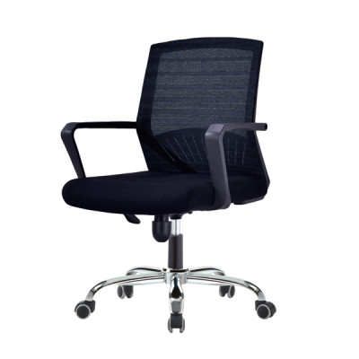 Middle Back Mesh Office Visit Chair With Mesh Seat And Back, Chrome Base,Plastic Cover Of Amrest(YF-A-094-1)