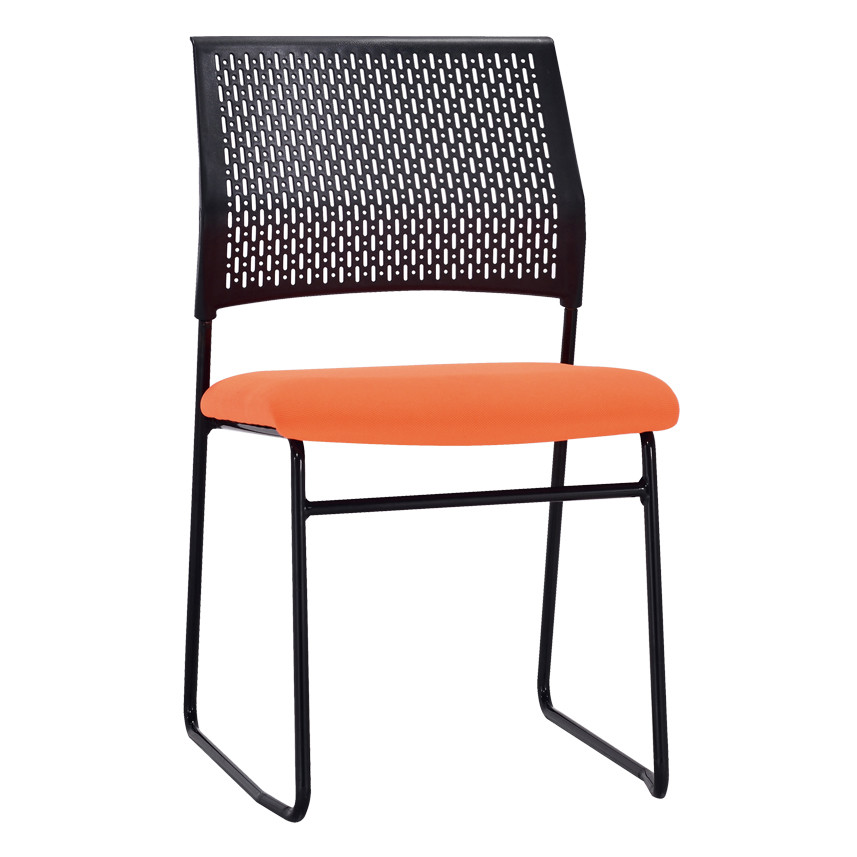 Middle Back Mesh Office Visit Chair With Fabric Seat And Plastic Back,Base With Black Powder Caoting(YF-X-06)