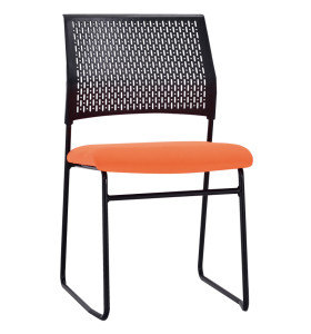 Middle Back Mesh Office Visit Chair With Fabric Seat And Plastic Back,Base With Black Powder Coating(YF-X-06)