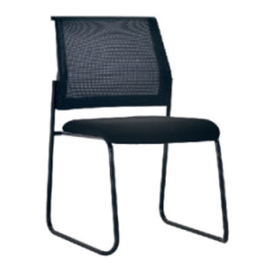 Middle Back Mesh Office Visit Chair With Fabric Seat And Plastic Back, Black Powder Caoting Base(YF-X-07)