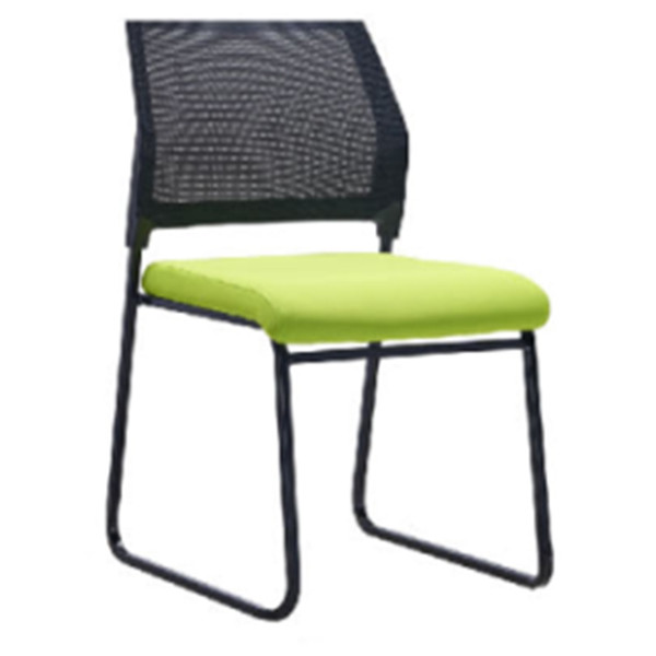 Middle Back Mesh Office Visit Chair With Green Fabric Seat And Black Plastic Back, Black Powder Caoting Base(YF-X-07-1)