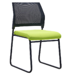 Middle Back Mesh Office Visit Chair With Green Fabric Seat And Black Plastic Back, Black Powder Coating Base(YF-X-07-1)