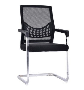 Middle Back Mesh Office Visit Chair With Mesh Seat And Back,Plastic Cover Of Amrest, Chrome Base(YF-A-082)