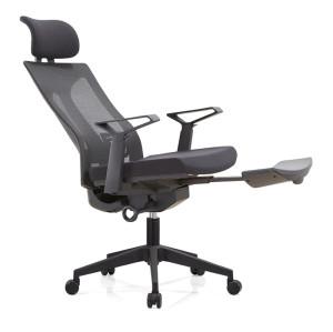 Silla ejecutiva de oficina reclinable de malla con respaldo alto, con base y pedal de aluminio, reposabrazos y reposacabezas ajustables (YF-A39)