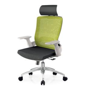 Silla ejecutiva de oficina con respaldo alto de malla con base de aluminio, reposabrazos de PP, reposacabezas ajustable (YF-A32-White)